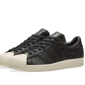 Adidas superstar black snaked embossed shoe NWOT